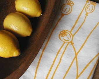 Linen Tea Towel  -  Organic Kitchen Towel , Yellow Poppies ,  Hand Screen Printed Dish Towel