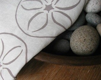 Tea Towel- Organic Linen- Sand Dollar- Dish Towel