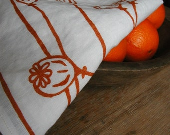 Tea Towel - Organic Linen Kitchen Towel, Hand Screen Printed Dish Towel - Orange Poppies