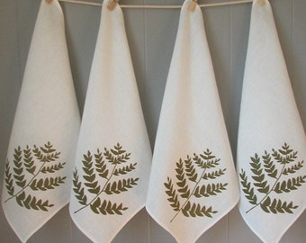 Organic Linen Napkins - Cloth Dinner Napkins - Fern Design - Screen Printed in Moss Green - Set of Four