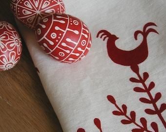 Tea Towel- Organic Linen - Rooster Design-  Hand Screen Printed Dish Towel