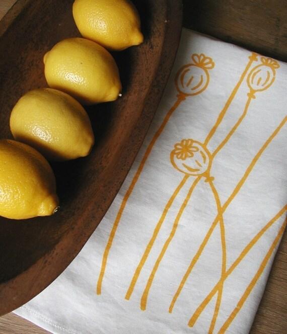 Tea Towel-Organic Linen- Yellow Poppies- Hand Screen Printed Dish Towel