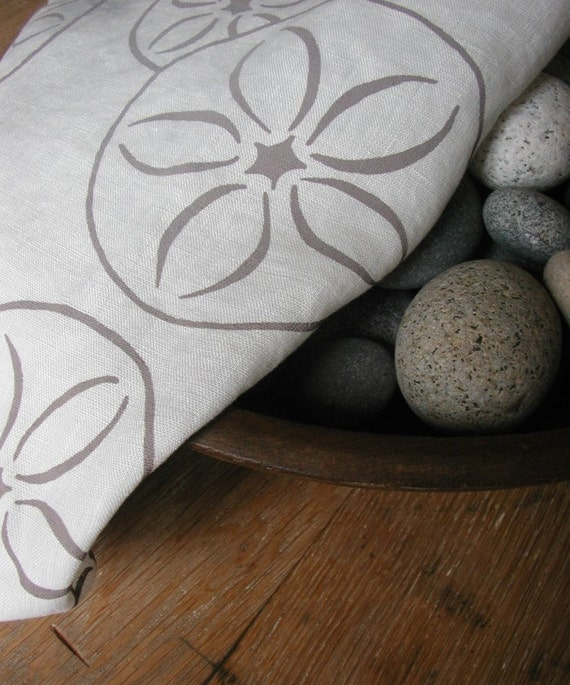 Tea Towel- Organic Linen- Sand Dollars- Hand Screen Printed Dish Towel