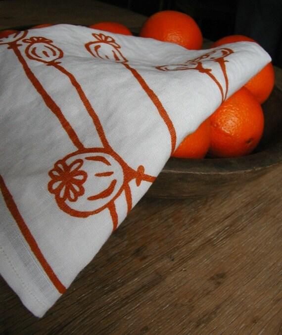 Tea Towel-Organic Linen- Poppies- Hand Screen Printed Dish Towel