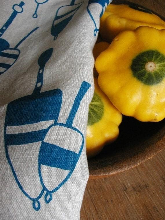 Organic Linen Tea Towel- Screen Printed Dish Towel- Lobster Buoys