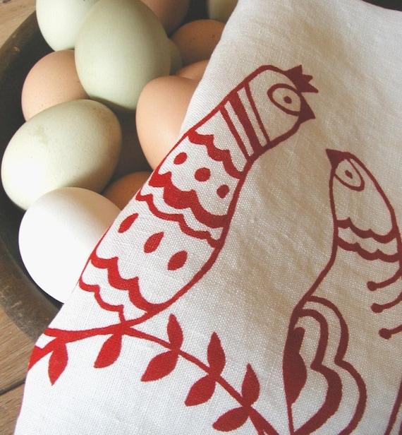Linen Tea Towel- Scandinavian Folk Birds - Hand Screen Printed Dish Towel- Organic