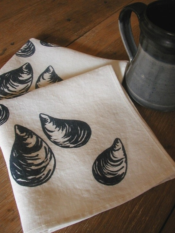 Organic Linen Napkins- Mussels- Set of Two Seconds- Sale-Picnic