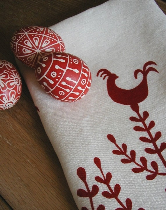 Tea Towel- Organic Linen - Rooster Design-  Hand Screen Printed Dish Towel