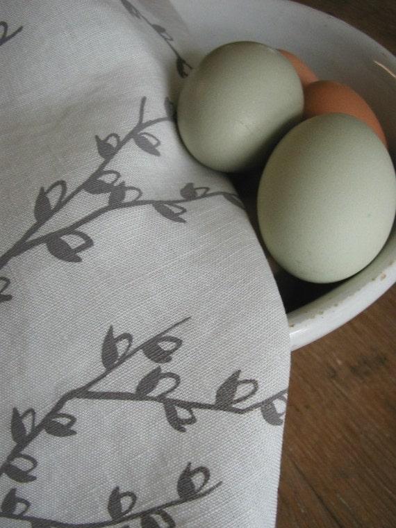 Pussy Willow Tea Towel-Organic Linen-Dish Towel- Hostess Gift
