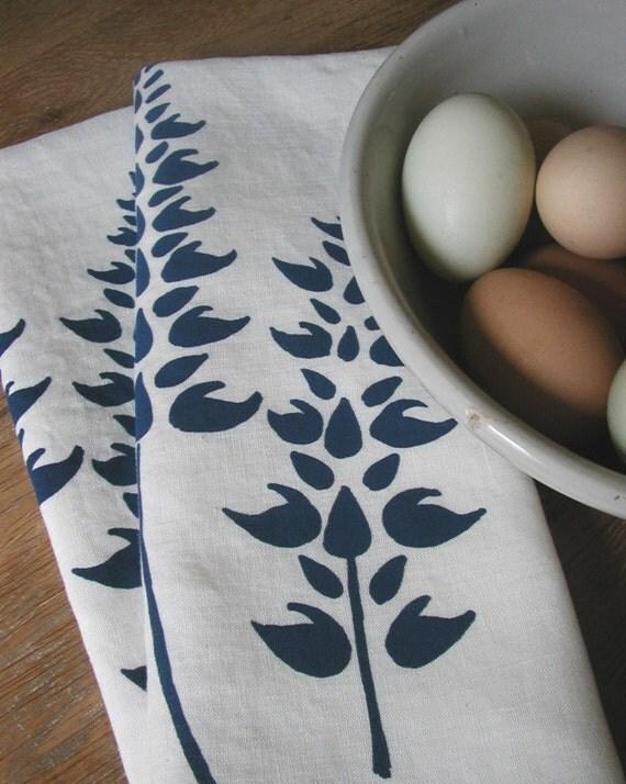 Organic Linen Tea Towels-Lupine-Set of Two- Seconds Sale- Dish Towels