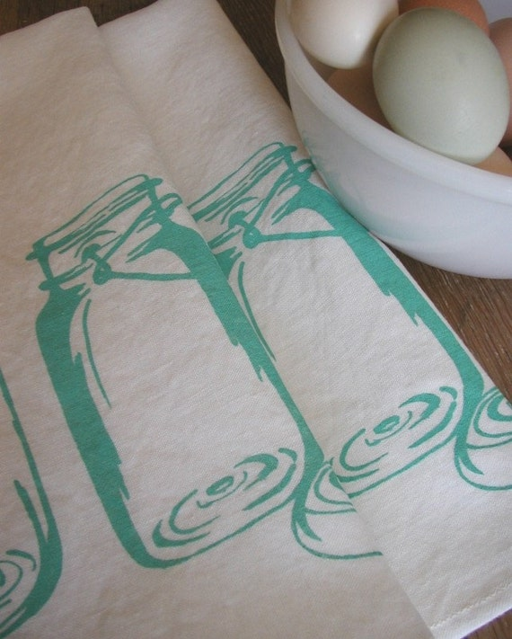Two Organic Linen Tea Towels -Mason Jars- Set of Seconds- Dish Towels-Sale