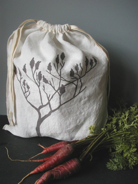 Produce Bag - Organic Linen Drawstring Bag - Hand Screen Printed - Sumac Design - Gift Bag
