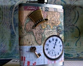 Steampunk world traveler flask, designer created drinking vessel