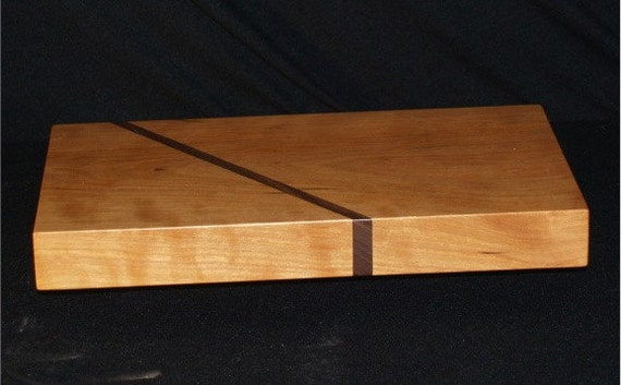 Creekers Woodworks Solid one piece Cherry cutting board with Walnut slash