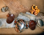 Gemstone necklace with Picasso Jasper and sterling