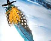 Blue feather ornament hair extension or earring - with Guinea and yellow Macaw feathers