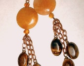 Gemstone lariat necklace  - Healing copper with jade, amber, and tigers eye
