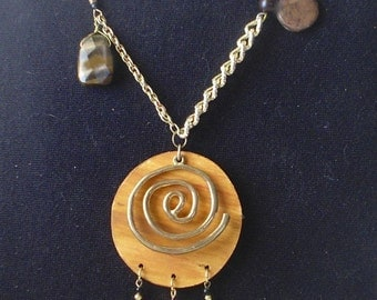 Good Luck necklace The Sacred Spiral with Reiki and tigers eye