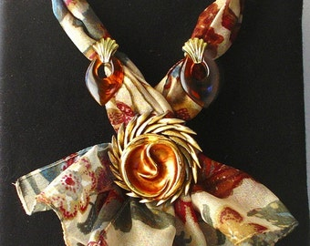 scarf necklace with vintage jewelry pieces - Autumn Sunset - SALE