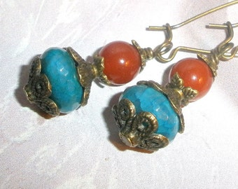 Blue Fire Agate earrings with genuine Carnelian and bronze