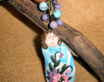 Good Juju Pendant in orchid and blue