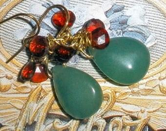 Garnet gemstone earrings with Aventurine - gold plated - good luck earrings