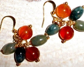 Agate and Carnelian earrings on gold-plated earwires