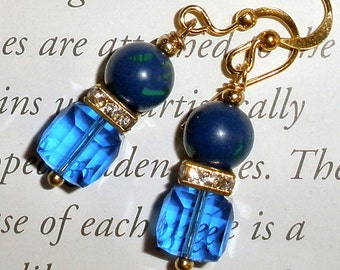 Lapis Lazuli  earrings - Gorgeous blue with swarovski crystal cubes and rhinestones