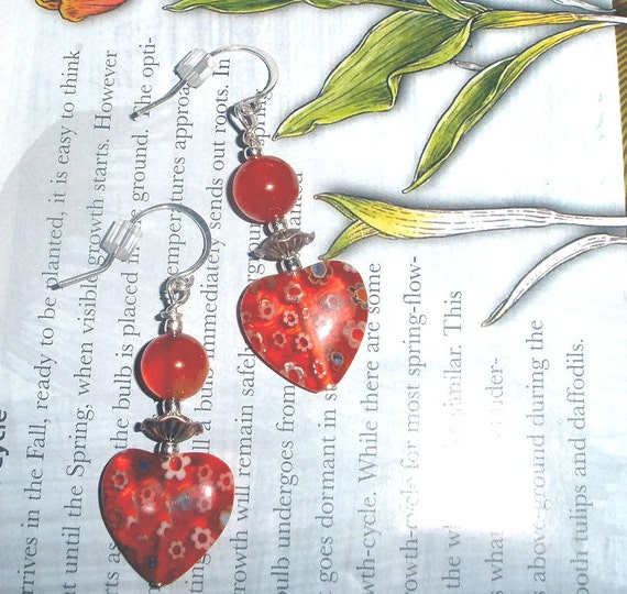 Millifiori Hearts earrings with Carnelian gemstone