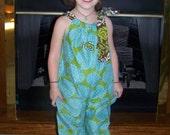 brown and turquoise yoke collar dress