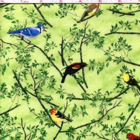 Natures Song.  Cotton Fabric with birds and branches.  Very tweet fabric.