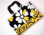 Handbag, cotton purse, yellow, black, white daisy