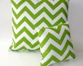 Chevron stripe pillow set, chartreuse and white, modern contemporary decorative