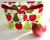 Eco friendly lunch tote bag, apples and pears fabric