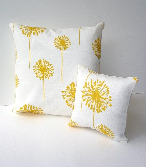 Decorative toss pillow set yellow and white dandelions