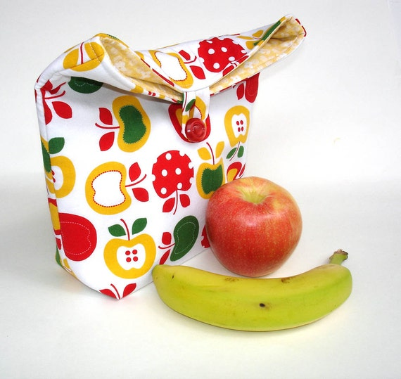Lunch bag, eco friendly fabric lunch sac, apple cotton fabric