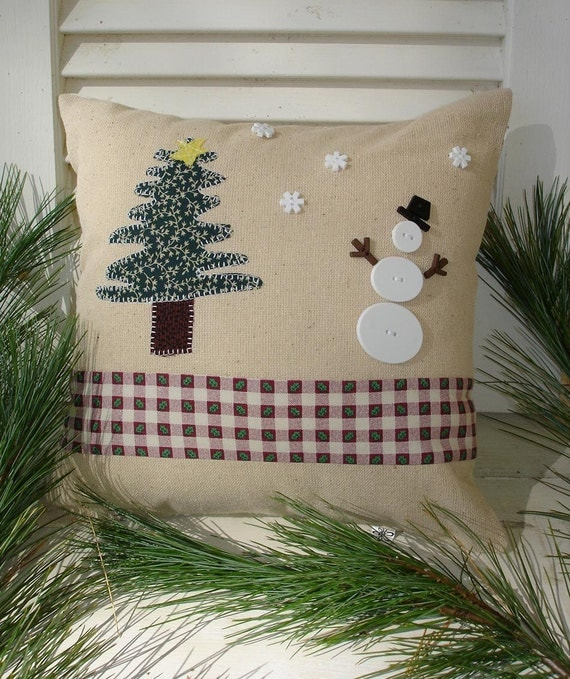 Winter accent pillow appliqued pine tree snowman country rustic home decor decorative pillow