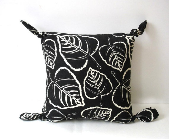 Pillow black and white modern leaves small Autumn decor contemporary decorative pillow