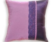 Decorative Throw Pillow Case 16 inch Taffeta and Lace Cushion Cover in Orchid and Eggplant SELINE DESIGN