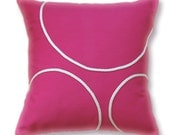 Hot Pink White Pillow Cover 16 in TRAYANA DESIGN
