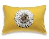 White Flower Yellow Pillow Cover 12x18 PRINT DESIGN 25