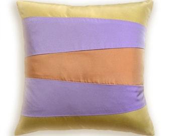 Yellow Lavender Orange Decorative Pillow Cover  16 in Taffeta SIENNA DESIGN