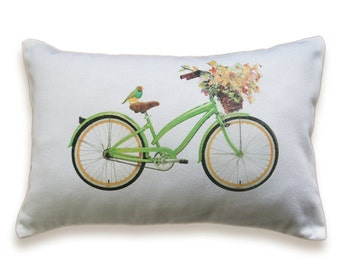 Bicycle Pillow Cover 12x18 inch White Cotton PRINT DESIGN 31