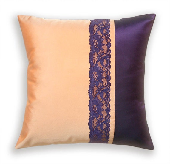 Decorative Throw Pillow Case 16 inch Taffeta and Lace Cushion Cover in Peach and Eggplant SELINE DESIGN