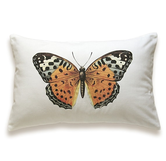 Butterfly Pillow Cover 12x18 inch White Cotton PRINT DESIGN 08