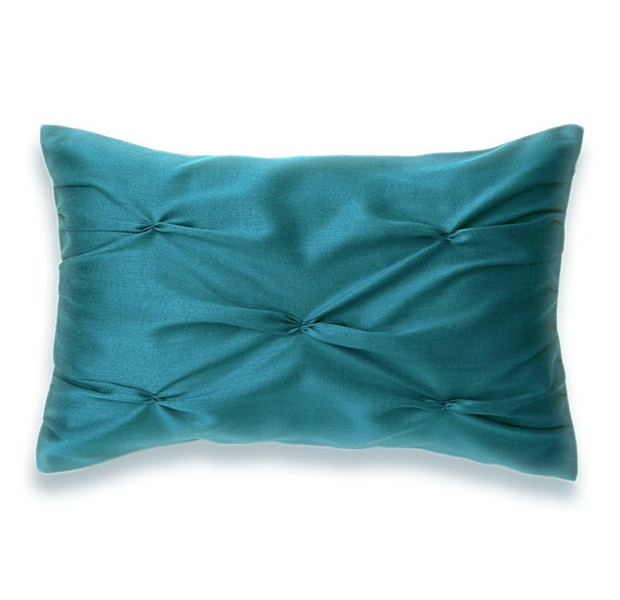 Teal Blue Lumbar Pillow Case 12 X 18 In Nia By Delindaboutique