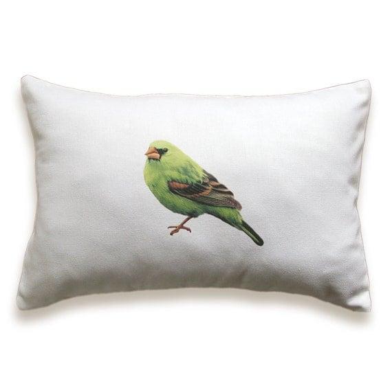 Green Bird Pillow Cover 12 x 18 inch White Cotton PRINT DESIGN 27