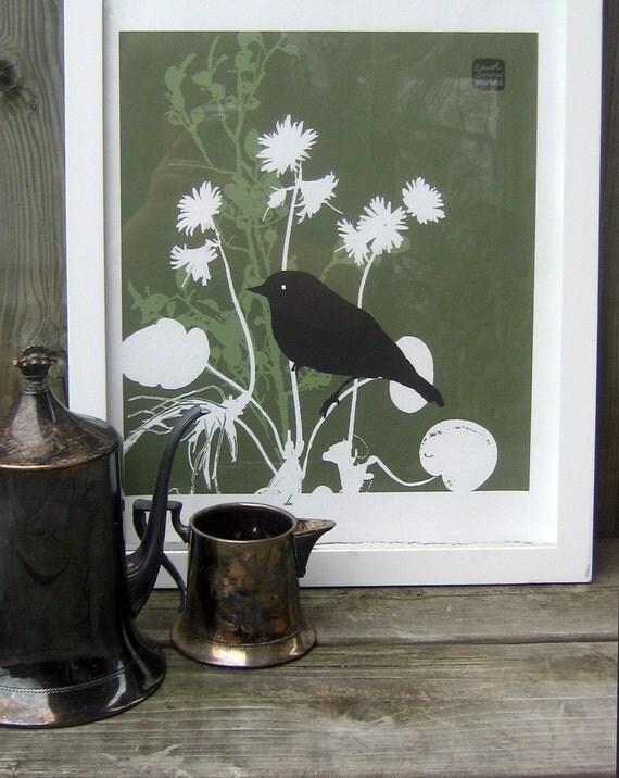 Carococo art print by Carol-Anne Pedneault / Oiseau de Nuit/ Night Bird / 8x10