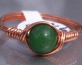 Green Jade Copper Wire Wrapped Ring Custom Sized