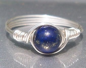 Lapis Lazuli Argentium Sterling Silver Custom Sized Wire Wrapped Ring